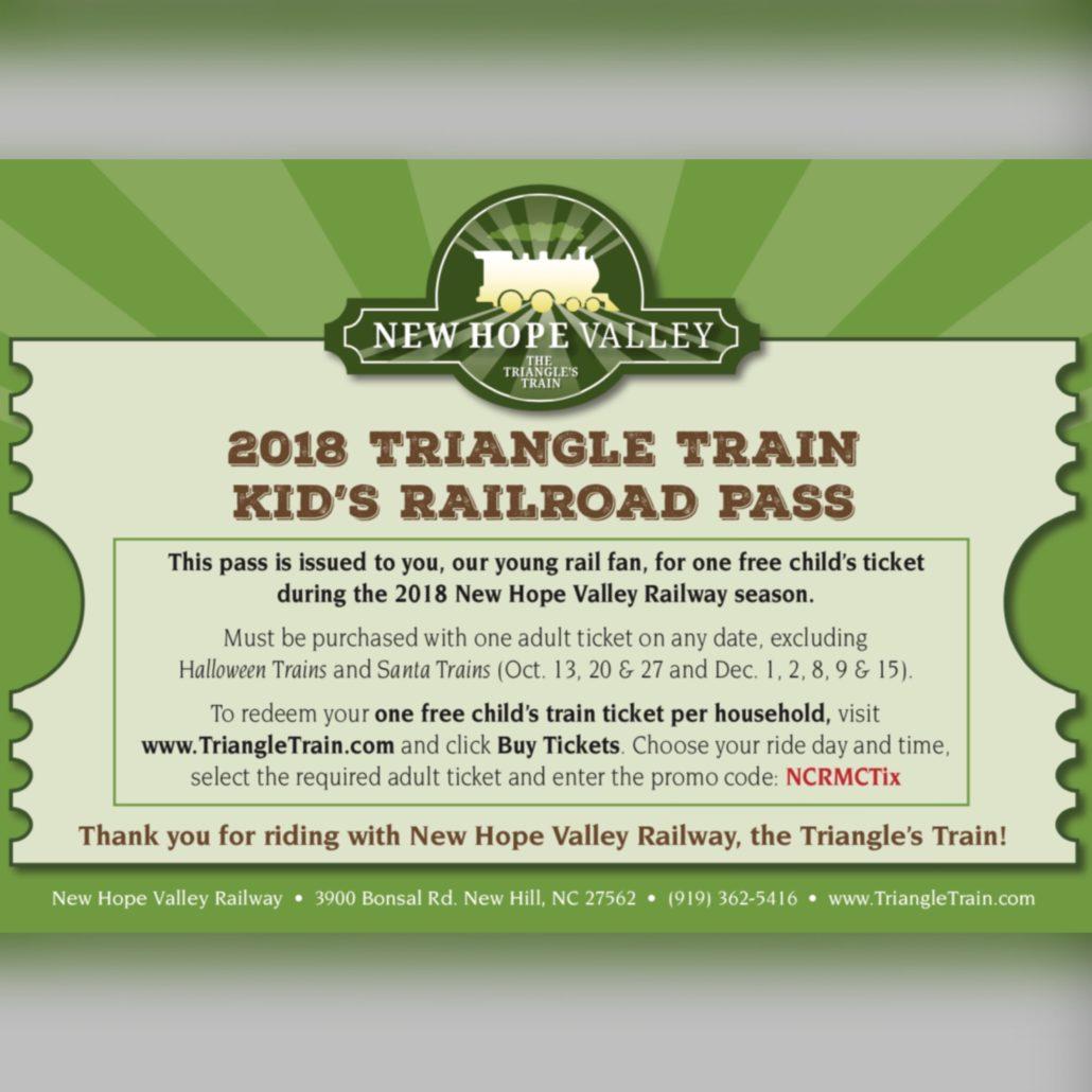 2018 Triangle Train Kid's Railroad Pass for Sept. 29 & Nov. 11