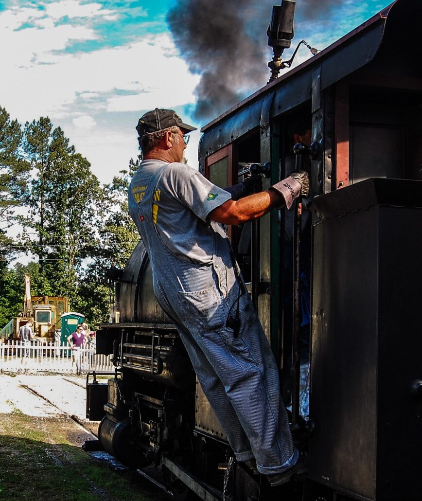 Volunteer Chris Tilley at New Hope Valley Railway